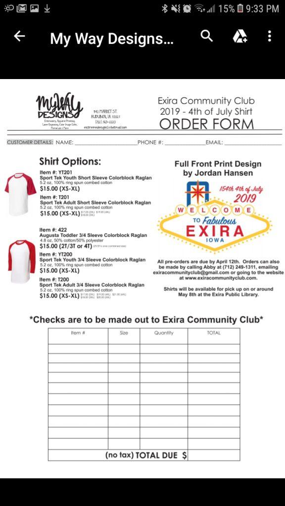 2019-4th of July Shirt Order